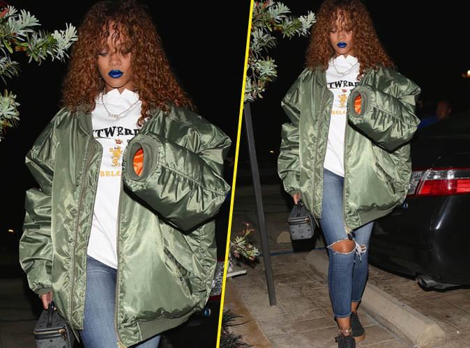Rihanna : l�vres bleues et bomber XXL, qu'est-ce que c'est que ce look ?