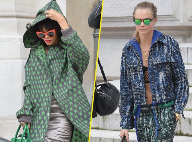 Rihanna : plus frileuse que Cara Delevingne au défilé Stella McCartney !