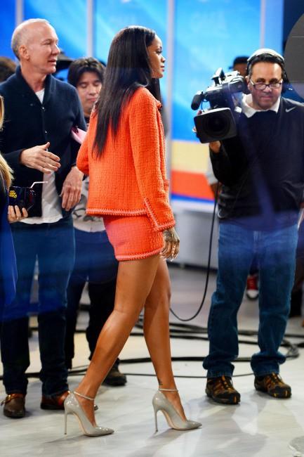 Rihanna sur le plateau de Good Morning America, le 29 janvier 2014.