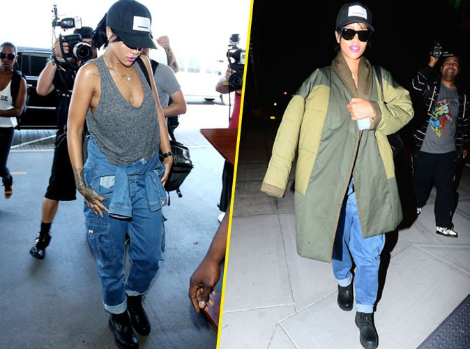 Rihanna : un d�part d�collet� pour une arriv�e emmitoufl�e !
