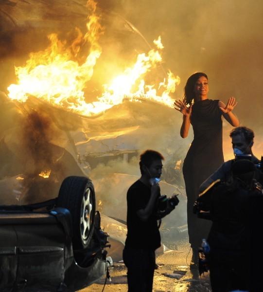 """Rihanna sur le tournage du clip de """"Diamonds"""" à Los Angeles, le 21 octobre 2012."""