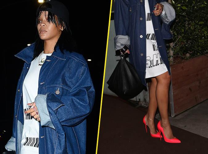 Rihanna : veste over-size et escarpins fluo, elle mixe les genres pour un résultat au top !