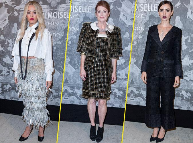 Rita Ora, Julianne Moore et Lily Collins le 12 octobre 2015
