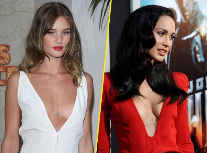 Rosie Huntington-Whiteley - Megan Fox: en rouge ou en blanc...le décolleté est sublime!