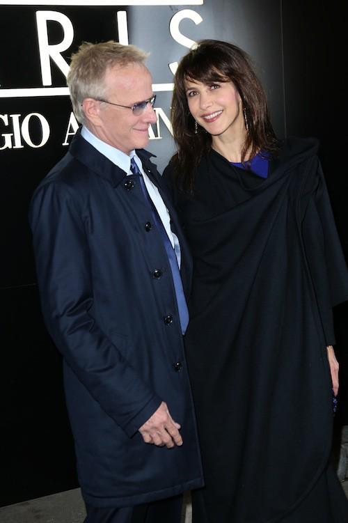 La dernière apparition de Sophie Marceau et Christophe Lambert ensemble pour le défilé Armani à Paris en janvier 2014