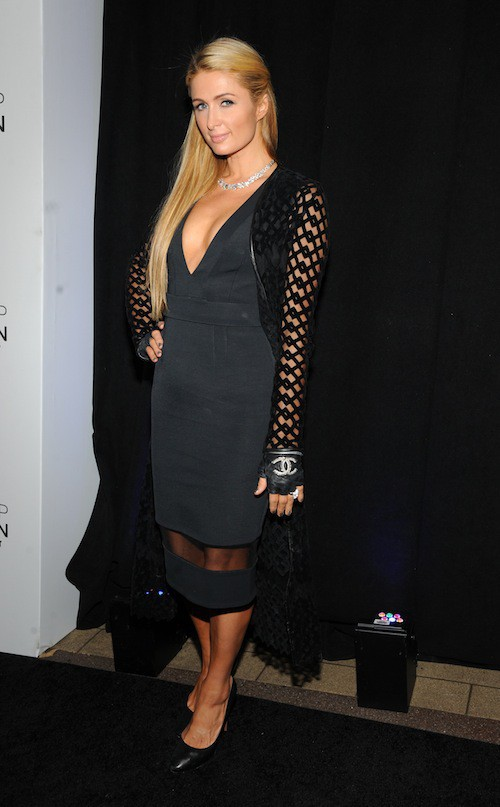 Paris Hilton à l'inauguration de la boutique Topshop à New York, le 4 novembre 2014