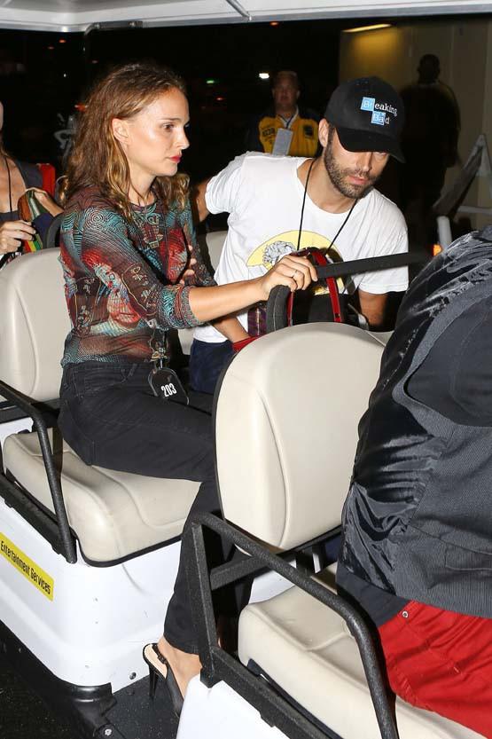 Natalie Portman et Benjamin Millepied au concert de Beyoncé et Jay-Z à Pasadena le 2 août 2014
