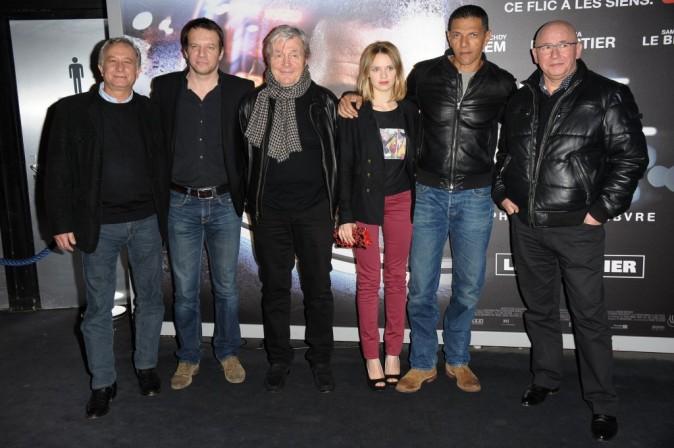 Samuel Le Bihan, Sara Forestier, Roschdy Zem et toute l'équipe du film Une Nuit, lors de l'avant-première, le 2 janvier à Paris.