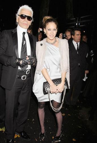 Avec Karl Lagerfeld en 2008 pour une soirée Chanel à New York
