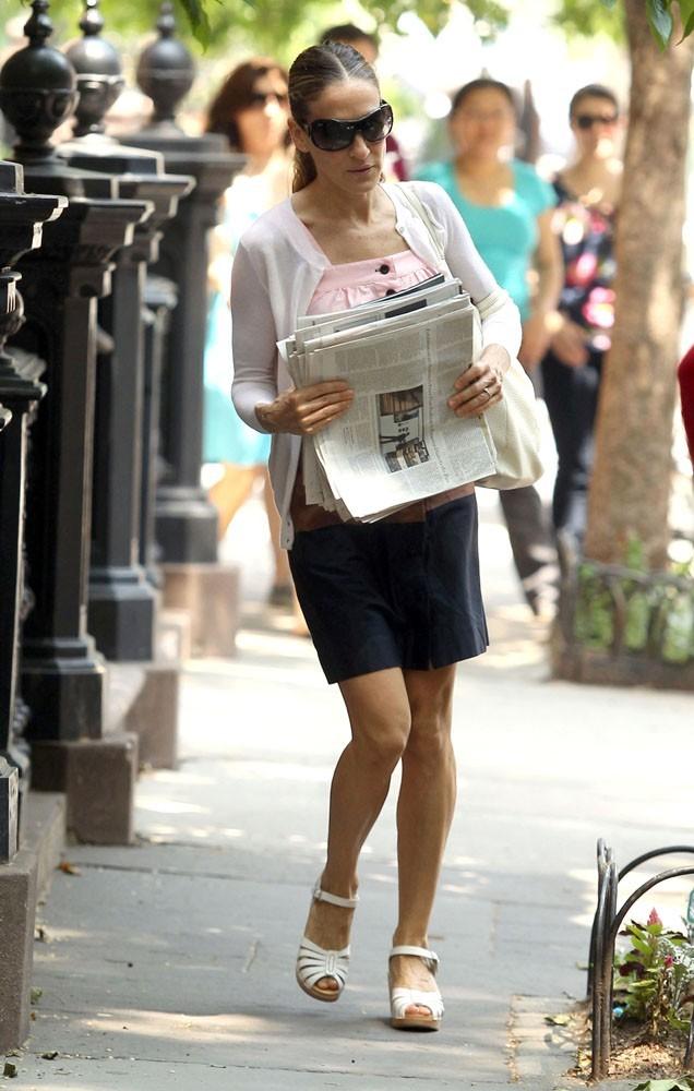 Sarah Jessica Parker vient de sortir de chez elle...