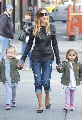 Sarah Jessica Parker et ses filles, le 1 avril 2013 à New-York