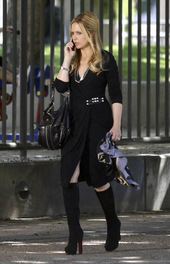 Sarah Michelle Gellar sur le tournage de Ringer à Los Angeles, le 1er août 2011.
