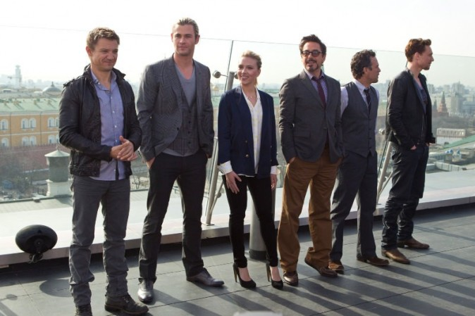 L'équipe du film The Avengers à Moscou, le 17 avril 2012.