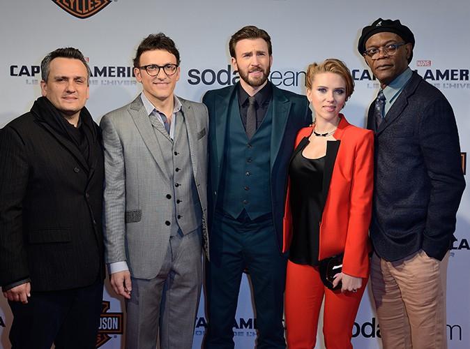 Joe et Anthony Russo, Chris Evans, Scarlett Johansson et Samuel L. Jackson à Paris le 17 mars 2014