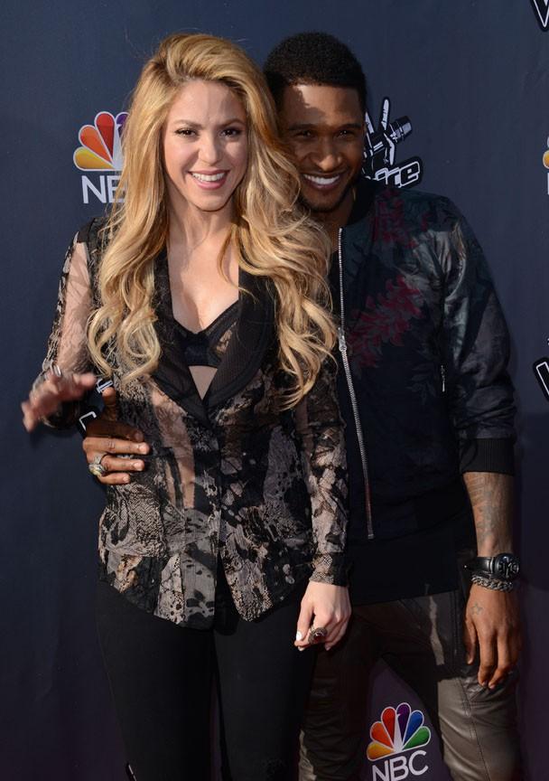 Shakira et Usher à une soirée The Voice organisée à Hollywood le 3 avril 2014