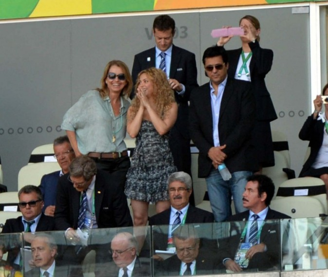 Shakira lors du match Espagne - Italie au Brésil,  le 27 juin 2013.