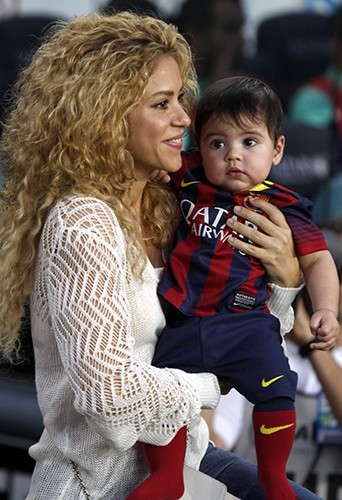 Shakira en famille à Barcelone le 14 septembre 2013