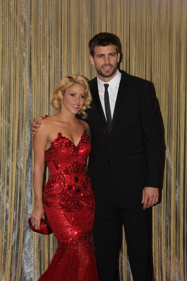 Shakira et son amoureux Gérard Piqué lors du Gala FIFA Ballon d'Or 2011 à Zurich, le 9 janvier 2012.