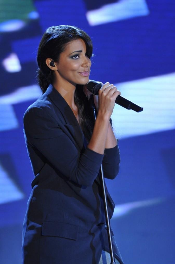 Shy'm lors de l'enregistrement de l'émission Vivement Dimanche, le 26 septembre 2012 à Paris
