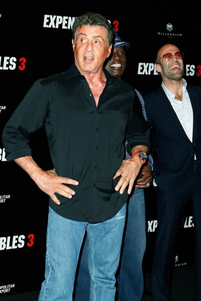 Sylvester Stallone Jason Statham et Wesley Snipes lors du photocall d'Expendables 3 à Paris le 7 août 2014.