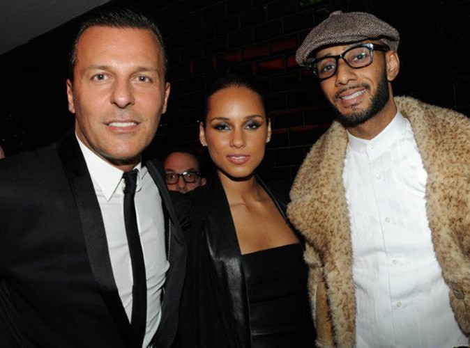 Jean-Roch, Alicia Keys et Swizz Beatz au VIP Room Theater, le 6 mars 2012.