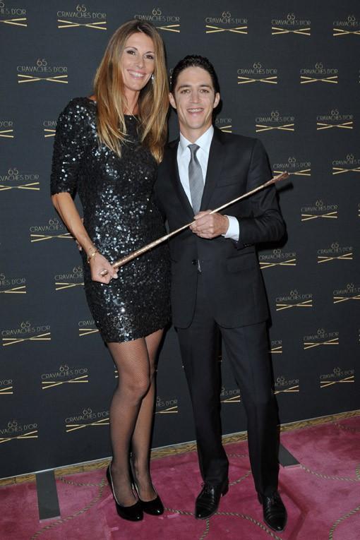 Sophie Thalmann et son mari Christophe Soumillon à la 65e cérémonie des Cravaches d'Or organisée à Paris le 14 mars 2014