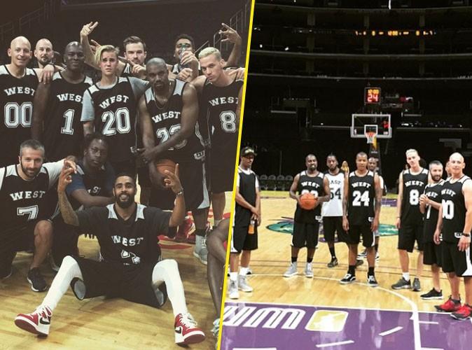 Kanye West et les joueurs de la NBA le 8 juin 2015