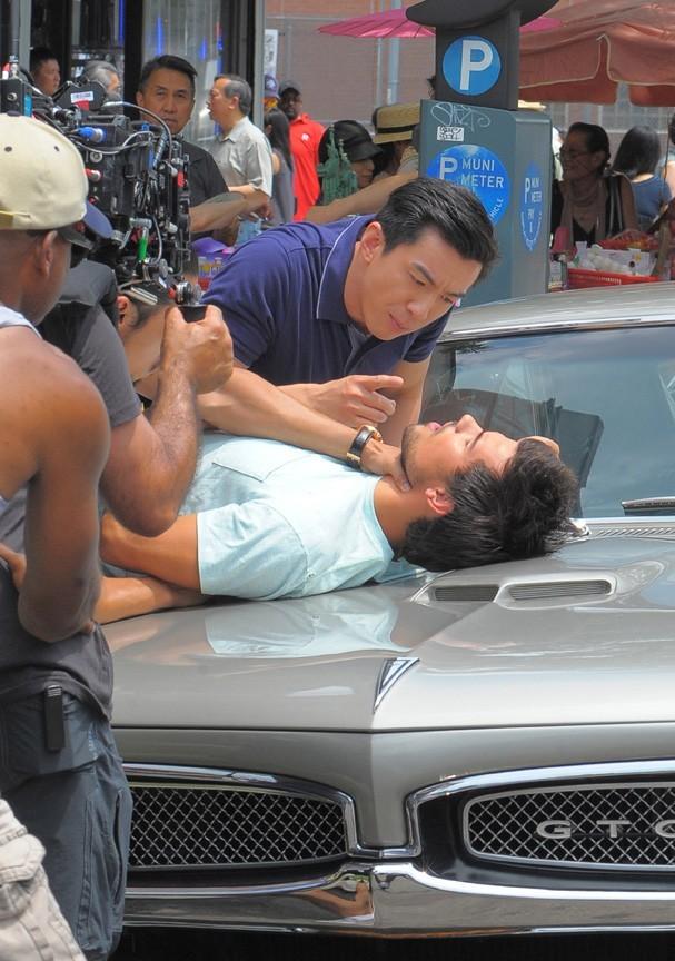Taylor Lautner sur le tournage de Tracers à New-York le 24 juin 2013