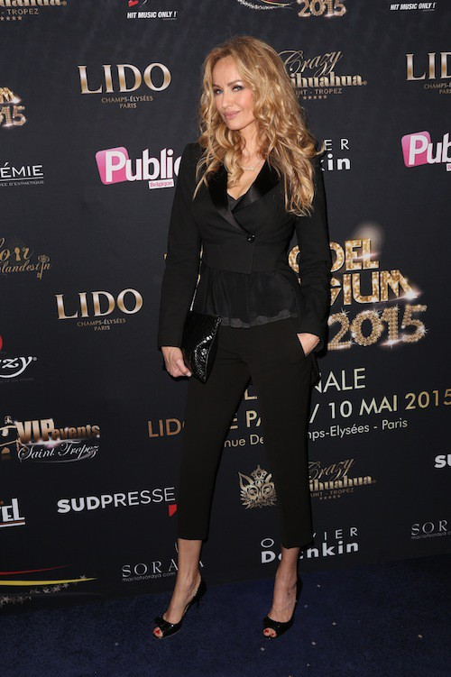 Adriana Karembeu au Top Model Belgium 2015, à Paris, le 10 mai 2015