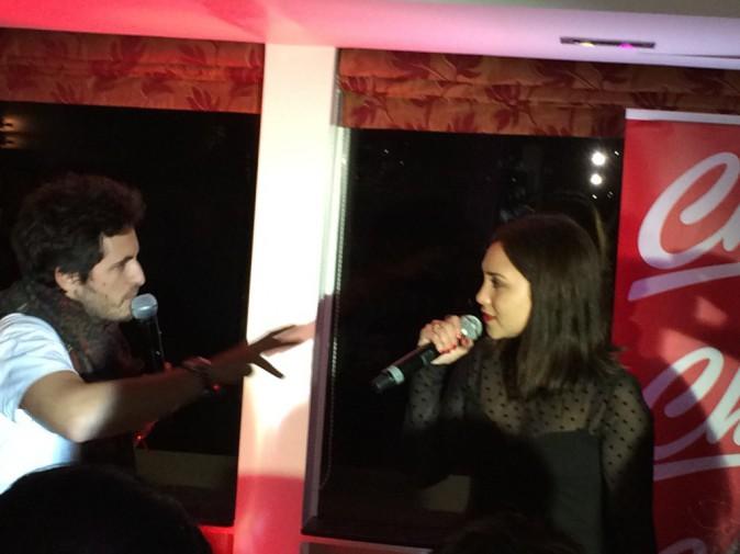 Michael Miro et Leslie lors de la tournée Pop Love Chérie fm à Paris, le 29 janvier 2013.