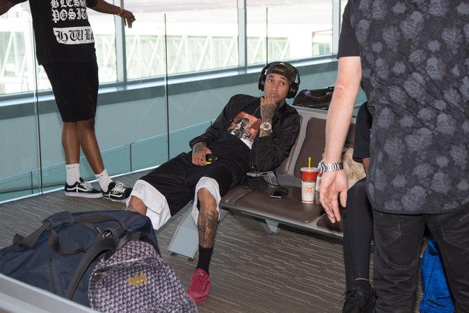 Tyga à l'aeroport de Perth en Australie