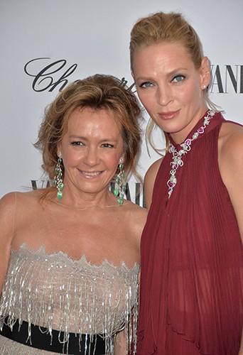 Caroline Scheufele et Uma Thurman à Venise le 31 août 2014