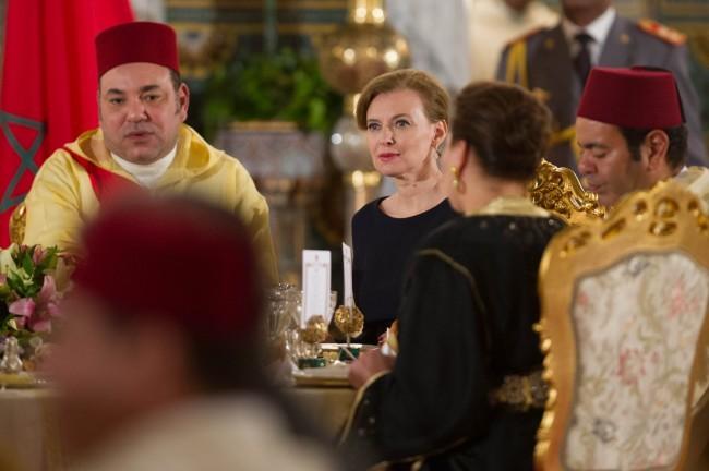 François Hollande et Valérie Trierweiler en dîner officiel au Maroc