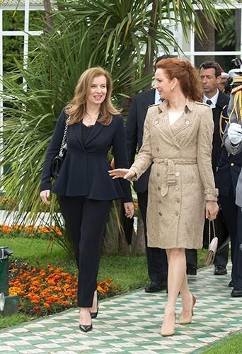Valérie Trierweiler et la princesse Salma à Casablanca le 3 avril 2013