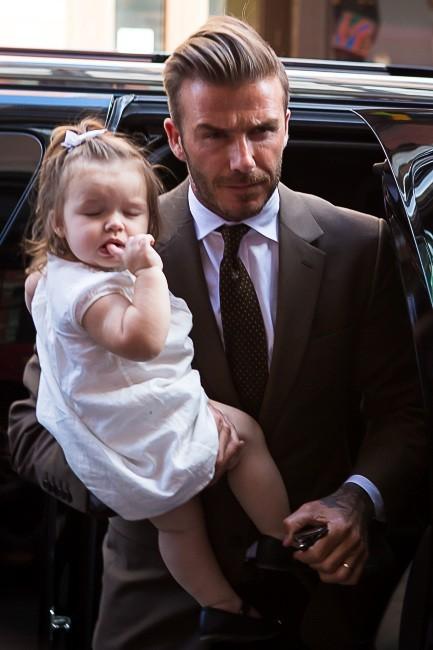 David Beckham et sa fille Harper à New York à l'occasion de la Mercedes-Benz Fashion Week, le 9 septembre 2012.