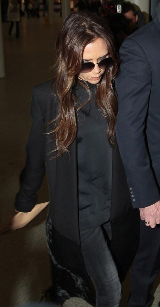Victoria Beckham à son arrivée à Londres le 25 février 2013