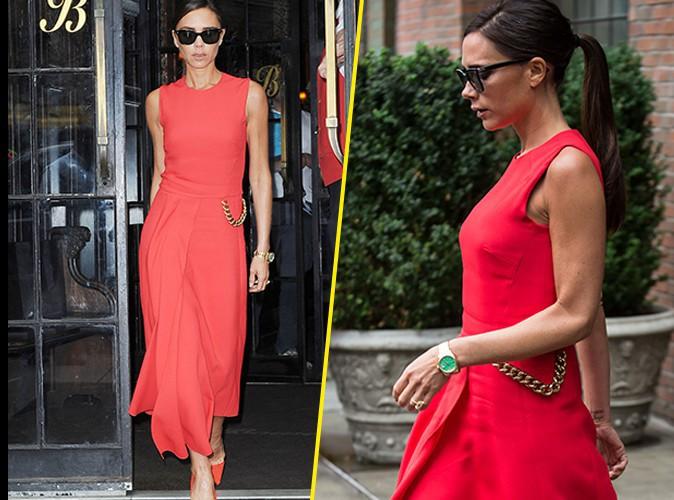 Victoria Beckham : le total look rouge, Posh maitrise !