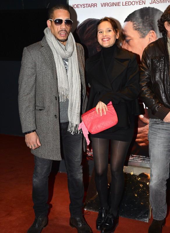 """Virginie Ledoyen et JoeyStarr lors de la première du film """"Une autre vie"""" à Paris, le 20 janvier 2014."""
