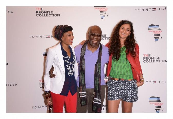 Imany, Manu Dibango et Yelena Noah lors de la soirée Tommy Hilfiger à paris, le 26 avril 2012.