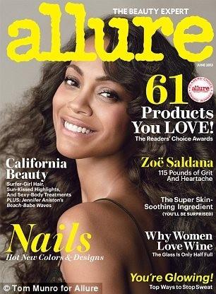Zoe Saldana en couverture du magazine Allure du mois de juin 2013.