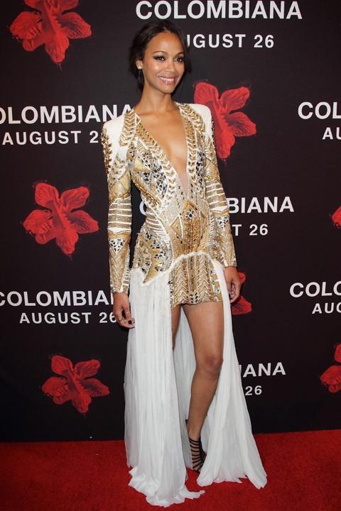 Zoe Saldana lors de la première de Colombiana à Miami, le 22 août 2011.